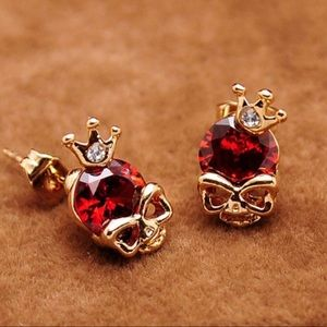 Earrings Skulls Gold Red Jewelry Punk Gothic Pixie